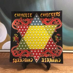 Chinese Checkers Board Game Glass Platter